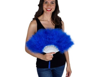 Royal Blue Feather Fan, Small Marabou Feather Fan, Cheap Feather Fan For Photobooths, Costume Parties, Carnival & Halloween ZUCKER®