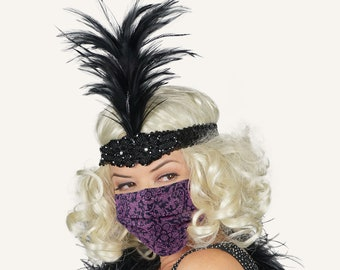 Flapper Headband with Disposable Black-Purple Paper Lace Mask Great Gatsby Roaring 20's Costume Feather Headband & Fashion Accessory ZUCKER®