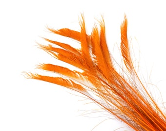 """Bleach Dyed Peacock Sword Feathers 10 to 100 Pieces 15-25"""" ORANGE - Floral Decor, Millinery, Jewelry Design ZUCKER® Dyed & Sanitized in USA"""