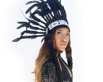 Feather Tribal Headdress, Black Feather Headdress with Faux Fur and Beaded Headband, Native American Headdress Inspiration ZUCKER®