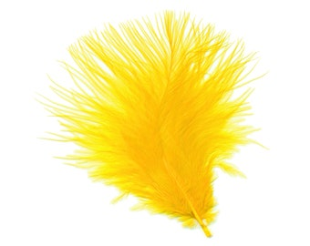 Turkey Feathers, Gold Loose Turkey Marabou Feathers, Short and Soft Fluffy Down, Craft and Fly Fishing Supply Feathers ZUCKER®
