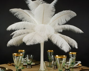"""Ostrich Feathers 13-16"""" WHITE - For Feather Centerpieces, Party Decor, Millinery, Carnival, Fashion & Costume ZUCKER®"""