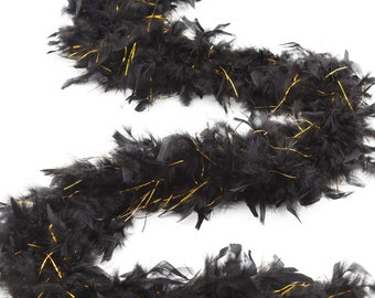 60 Gram Chandelle Feather Boa Black and Gold Lurex 2 Yards For Party Favors, Kids Craft, Dress Up, Dance, Halloween, Costume Zucker®