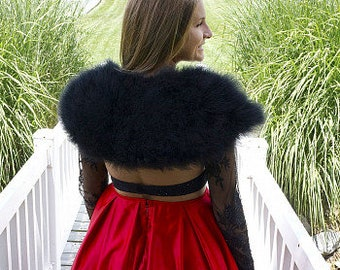 BLACK Fancy Marabou Feather Shawl w/Front Hook Closure For Special Events & Costume Parties ZUCKER® Feather Place Original Designs