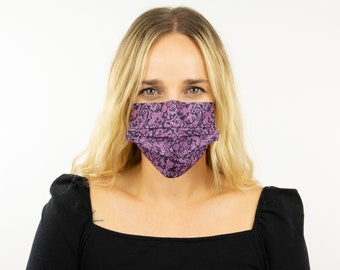 Fitted Face Mask, Black and Purple Fancy Lace Disposable Face Mask, Dust Mask, Fashion Face Mask, Face Covering ZUCKER®