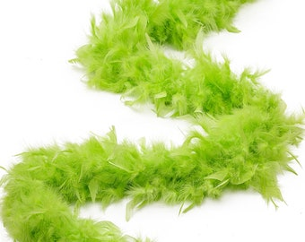 60 Gram Chandelle Feather Boa, Lime Green 2 Yards For Party Favors, Kids Craft & Dress Up, Dancing, Wedding, Halloween, Costume ZUCKER®