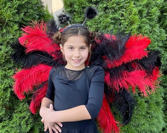 LadyBug Upcycled Ostrich Feather Costume Wings made w/2nd Quality Ostrich Feathers, Ladybug Costume Feather Wings ZUCKER® Original Designs