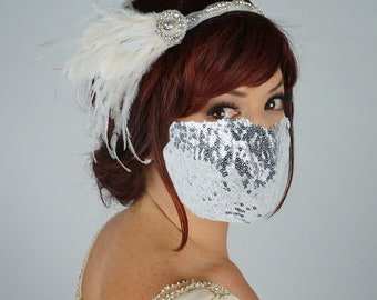 White and Ivory Feather Headband with Silver Sequin Mask, Special Event, Bridal Feather Headband, Fashion & Costume Accessory ZUCKER®