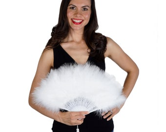 White Feather Fan, Small Marabou Feather Fan, Cheap Feather Fan For Photobooths, Costume Parties, Carnival & Halloween ZUCKER®