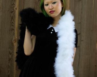 Black and White Cruella DeVille Inspired Feather Boa, Costume Feather Boa, Deluxe Marabou Feather Boa ZUCKER® Original Designs