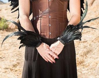 BLACK Feather Flair Cuffs - Costume Feather Wrist Cuffs, Ankle Cuffs, Arm Cuffs for Halloween, Carnival, Festival Wear & Burning Man ZUCKER®