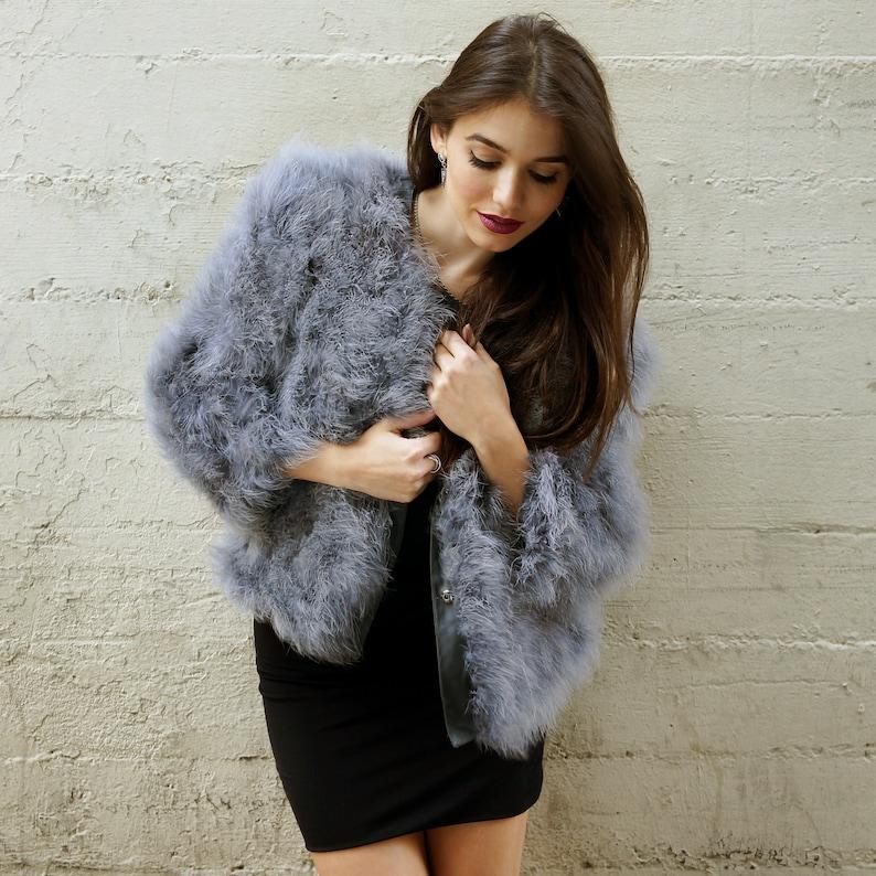 DARK GREY Marabou Feather Jacket MediumLarge For Fashion Trends and Special Events ZUCKER\u00ae Original Designs