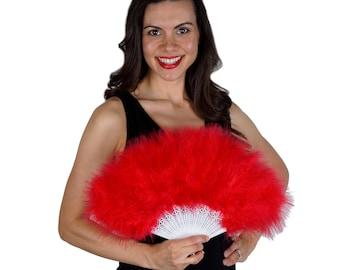 Red Feather Fan, Small Marabou Feather Fan, Cheap Feather Fan For Photobooths, Costume Parties, Carnival & Halloween ZUCKER®