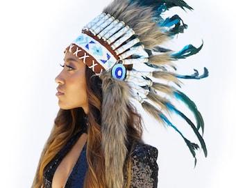 Feather Tribal Headdress, Dark Turquoise Feather Headdress with Faux Fur and Beaded Headband, Native American Headdress Inspiration ZUCKER®