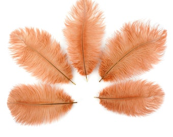 """Ostrich Feathers 4-8"""" Peach CINNAMON, Mini Ostrich Drabs, Floral Bouquets, Boutonnieres, Small Centerpieces ZUCKER® Dyed and Sanitized USA"""