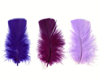 Turkey Feathers, Purple Mix Loose Turkey Plumage Feathers, Short T-Base Body Feathers for Craft and Fly Fishing Supply ZUCKER®