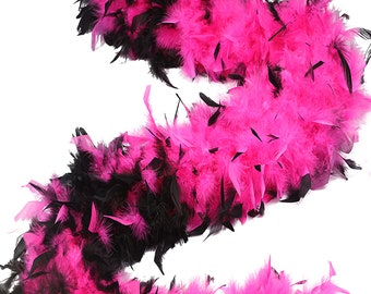 120 Gram Chandelle Feather Boa Tipped PINK & BLACK 2 Yards For Party Favors, Kids Craft, Dress Up, Dancing, Halloween, Costume ZUCKER®