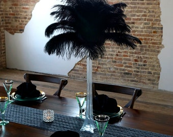 BLACK Ostrich Feather Centerpiece Sets CLEAR Eiffel Tower Vase - For Great Gatsby Party, Special Event & Wedding Reception Decor ZUCKER®