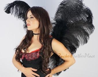 Black Ostrich Feather Wings, Angel Fairy Costume Ostrich Feather Wings, Unique Premium Fantasy Costume Accessory & Cosplay Wings ZUCKER®