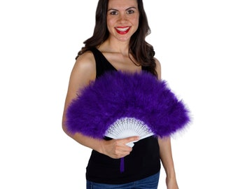Dark Purple Feather Fan, Small Marabou Feather Fan, Cheap Feather Fan For Photobooths, Costume Parties, Carnival & Halloween ZUCKER®