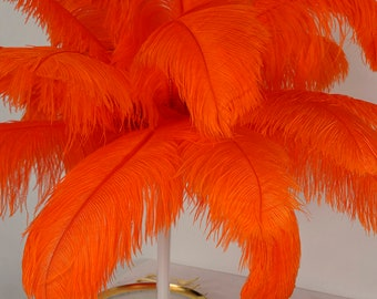"""Large Ostrich Feathers 17-25"""", 1 to 25 piece pkg, ORANGE, Feather Centerpieces, Table Decor, Millinery, Carnival, Costume, ZUCKER® USA"""