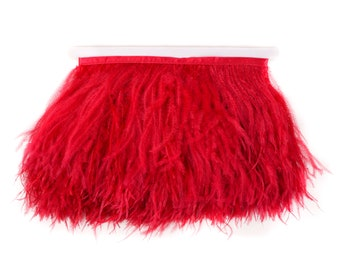 RED Bulk 5 YARD Ostrich Feather Fringe - For Bridal, Carnival Costume, Cosplay, Millinery, Fashion Design and Decor  ZUCKER®