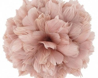 """Goose Nagorie Feathers 5-6"""" Champagne, Blush Strung Goose Feathers, Small Pink Goose Feathers Bulk - 1 Yard ZUCKER®"""