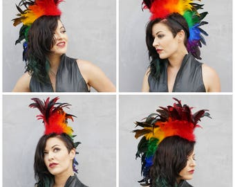 PRIDE Rainbow Feather Mohawk, Zoom Party Cosplay, Burning Man, Coachella Festival, Carnival, Rave Wear ZUCKER® Feather Place Original Design