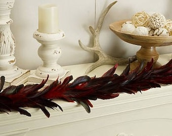 Decorative Feather Garland with Red Glitter Accents