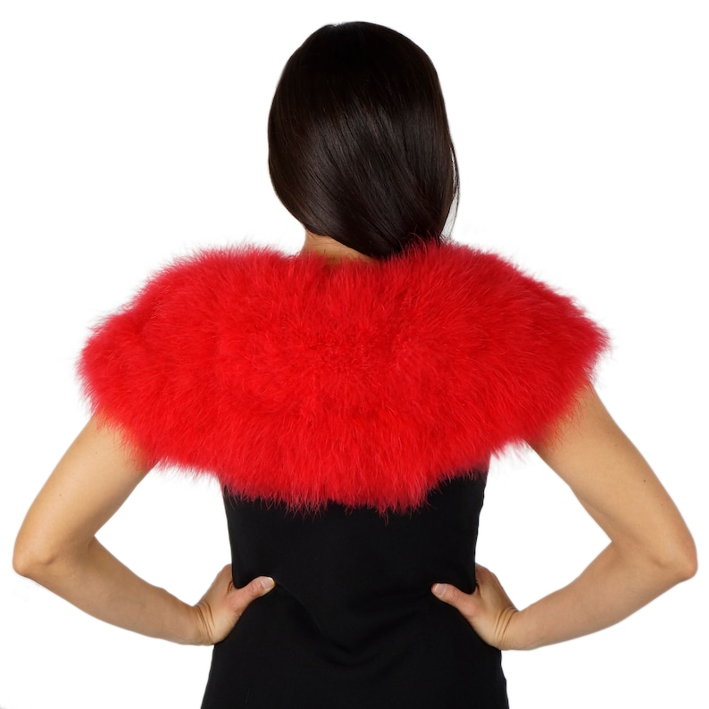 RED Marabou Feather Shawl with Satin Ties Weddings /& all Special Events ZUCKER\u00ae Feather Place Original Designs Bridesmaids For Prom