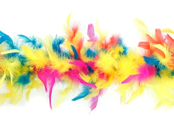 40 Gram Chandelle Feather Boa HOT RAINBOW Mix 2 Yards For Party Favors, Kids Craft, Dress Up, Dancing, Halloween, Costume Zucker®