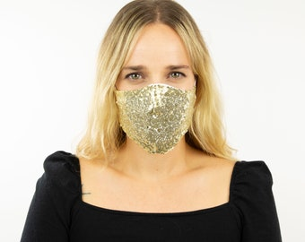 Fitted Face Mask, Gold Sequin Reusable Face Mask, Washable, Halloween Sequin Mask, Fashion Face Mask, Face Covering ZUCKER®