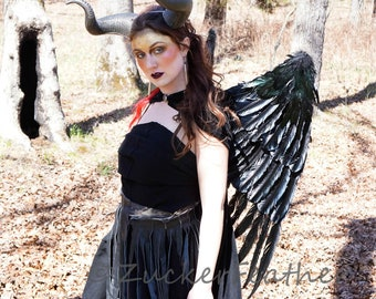 Large Black Feather Wings, Maleficent Inspired Feather Costume Wings, Unique Premium Fantasy Costume Accessory & Cosplay Wings ZUCKER®