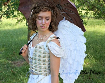 White Angel Wings, White Feather Costume Angel Wings, Premium Fantasy Feather Halloween Costume Accessory & Cosplay Wings ZUCKER®