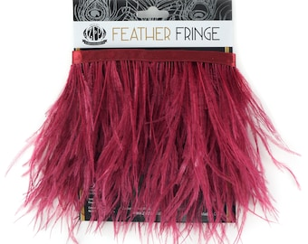 BURGUNDY 1 YARD Ostrich Feather Fringe - For Bridal, Carnival Costume, Cosplay, Millinery, Fashion Design and Decor  ZUCKER®