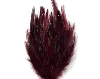 BURGUNDY Dyed Hackle Pads - Feather Patches For Arts & Crafts, DIY Fascinators, Millinery, Fashion, Costume and Carnival Design ZUCKER®