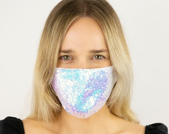 Fitted Face Mask, Opal Sequin Reusable Face Mask, Washable, Fancy Opalescent Sequin Mask, Fashion Face Mask, Face Covering ZUCKER®
