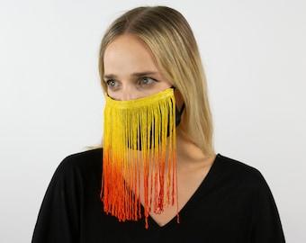 Fitted Fringe Mask, Orange Yellow Ombre Fringe Reusable Face Mask, Washable, Halloween Fringe Mask, Fashion Face Mask, Face Covering ZUCKER®