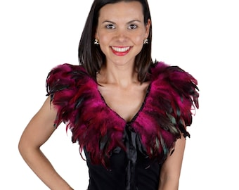 PINK Feather Collar W/Satin Ribbon Ties - Festival Wear, Burning Man, Mad Max,Rave Wear, Cosplay ZUCKER®  Feather Place Original Designs