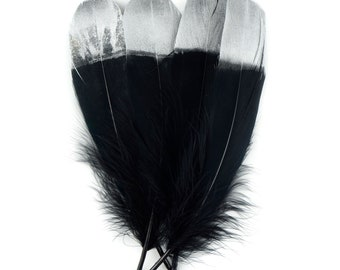 Black and Silver Metallic Tipped Goose Pallet Feathers 4 pieces For Arts, Crafts, Dream Catcher, Costume, Cosplay ZUCKER®