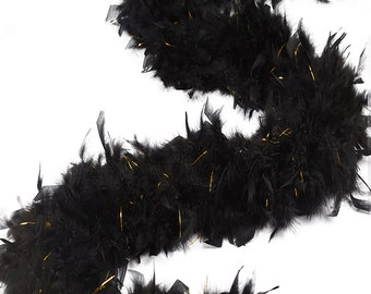 BLACK/GOLD Chandelle Feather Boas Heavy Weight w/Lurex - Perfect for Costume Parties, Halloween, Photobooth and Event Decor ZUCKER®