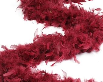 120 Gram Chandelle Feather Boa Burgundy 2 Yards For Party Favors, Kids Craft & Dress Up, Dancing, Wedding, Halloween, Costume ZUCKER®
