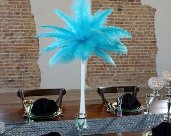 LTTURQUOISE Ostrich Feather Centerpiece Sets WHITE Eiffel Tower Vase For Great Gatsby Party, Special Event & Wedding Reception Decor ZUCKER®