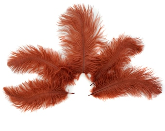 """Ostrich Feathers 4-8"""" COPPER, Mini Ostrich Drabs, Floral Bouquets, Boutonnieres, Small Centerpieces, Hat Trims ZUCKER®"""