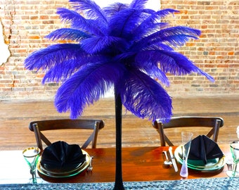 REGAL Ostrich Feather Centerpiece Set with BLACK Eiffel Tower Vase - For Great Gatsby Party, Special Event & Wedding Reception Decor ZUCKER®