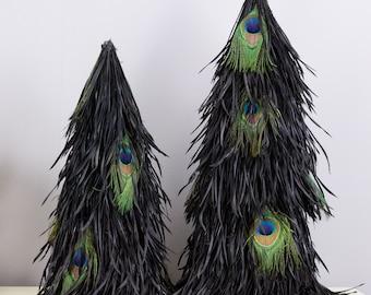 Black Goose Biot Feather Tree w/Peacock, Decorative Feather Tree Sleeve, Halloween, Thanksgiving, Christmas Decor ZUCKER® Original Designs