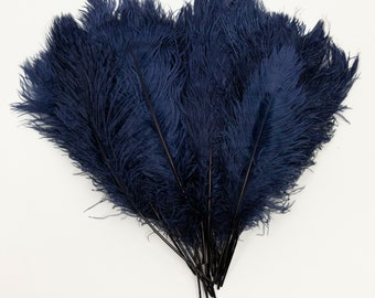 """Navy Ostrich Feather Tips, 16-18"""" Ostrich Tails 30 Pieces for Millinery & Floral Design, DIY Costume, Carnival, Mardi Gras ZUCKER®"""