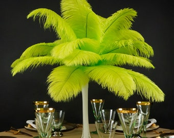 """Ostrich Feathers 13-16"""" LIME - For Feather Centerpieces, Party Decor, Millinery, Carnival, Fashion & Costume ZUCKER®"""