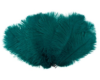 """Ostrich Feathers 9-12"""" TEAL, Ostrich Drabs, Centerpiece Floral Supplies, Carnival & Costume Feathers ZUCKER®Dyed and Sanitized USA"""