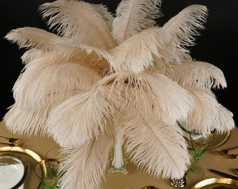 """Ostrich Feathers 13-16"""" BEIGE 25 PIECES For Feather Centerpieces, Party Decor, Millinery, Carnival, Fashion & Costume ZUCKER®"""